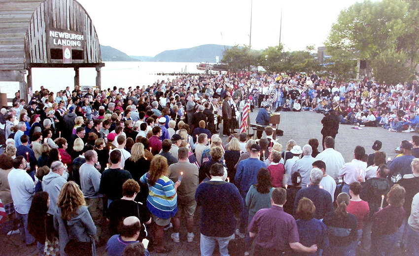 Sept. 16, 2001: Hundreds gather at the Newburgh Waterfront for a candlelight vigil to memorialize those killed on September 11.