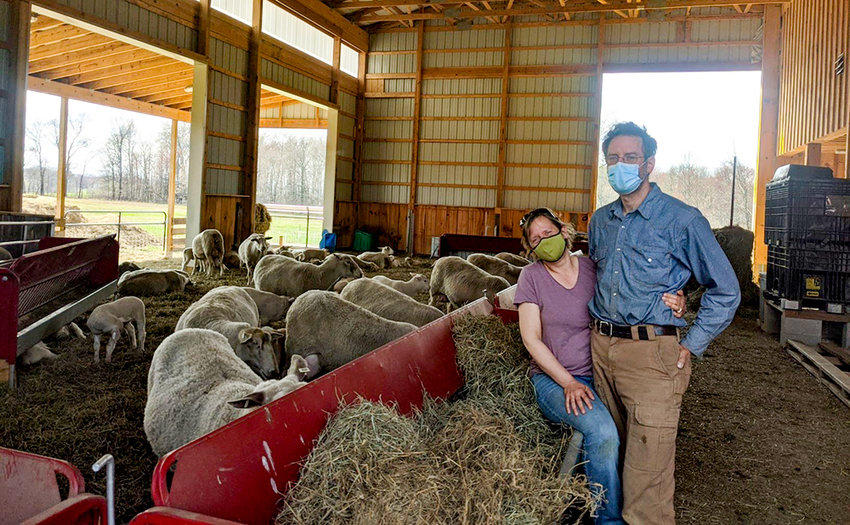 Carrie and Brent Wasser at their Willow Pond Sheep Farm in Gardiner.