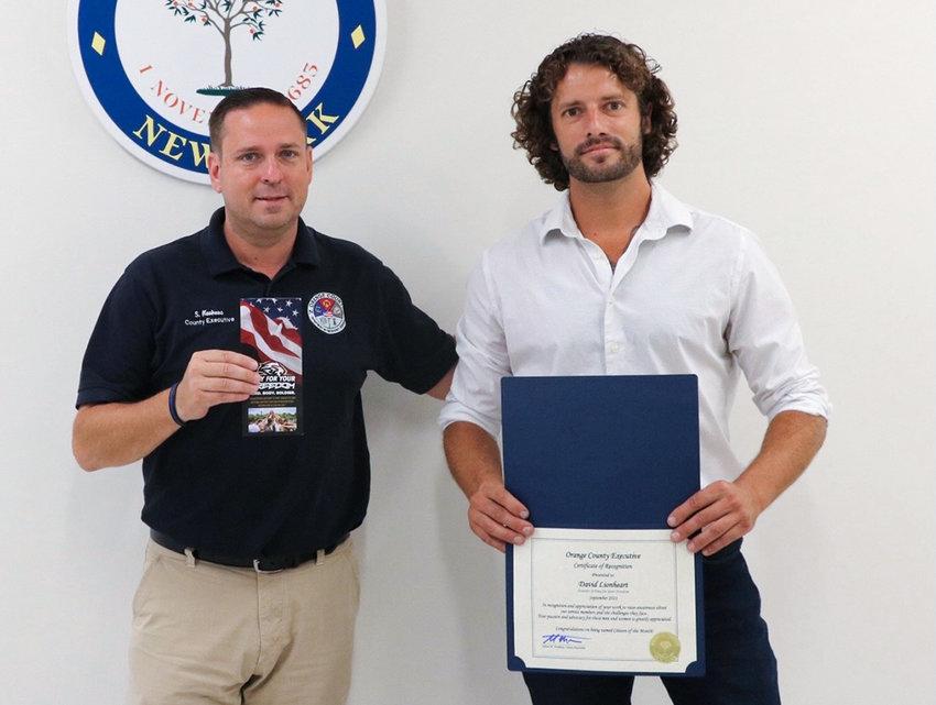 Orange County Executive Steven M. Neuhaus and David Lionheart.