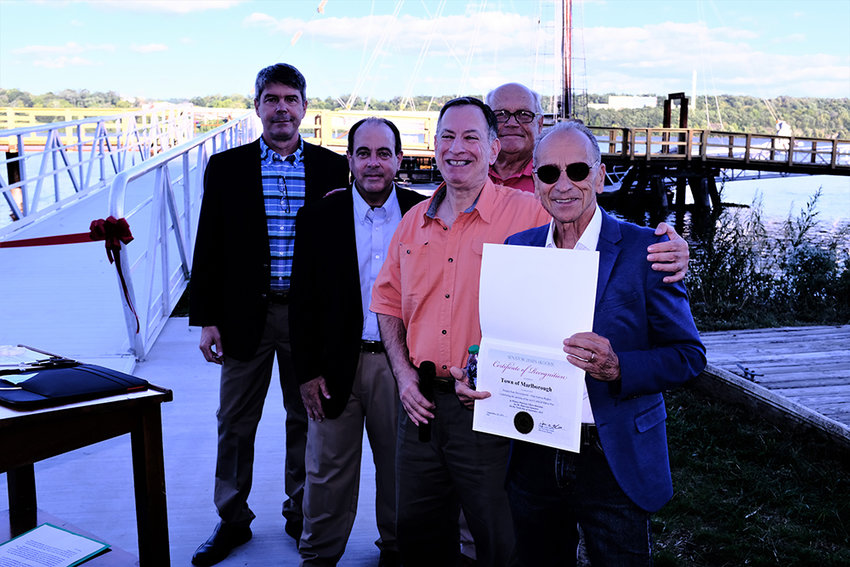 Mike Anagnostakis, from State Sen. James Skoufis' office, presented the Marlborough Town Board with a Certificate of Recognition for their support of the pier project. Pictured (l. – r.)  Allan Koenig, Scott Corcoran, Anagnostakis, Howard Baker and Supervisor Al Lanzetta. Councilman Ed Molinelli was unable to attend the ceremony.