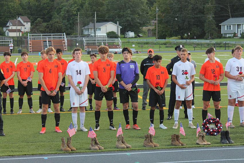 The Marlboro High School Varsity Boys Soccer team hosted a special 9/11 memorial game against Onteora on September 11. The Dukes beat the Eagles, 2-0.