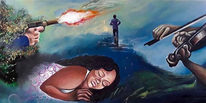 "She was sleeping, he went running, an orphaned violin, 2020, acrylic on canvas, 15"" x 30"" by Karen Gersch."