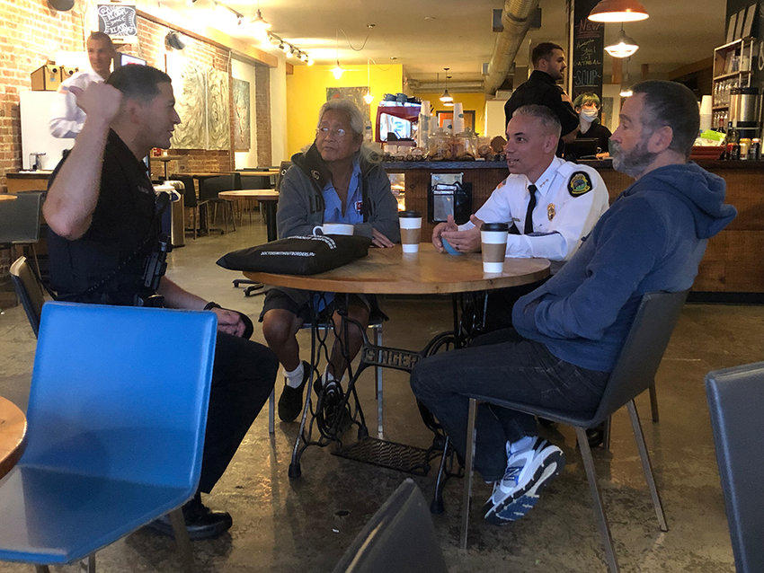 Chief Anthony Geraci meets with customers at 2 Alices.