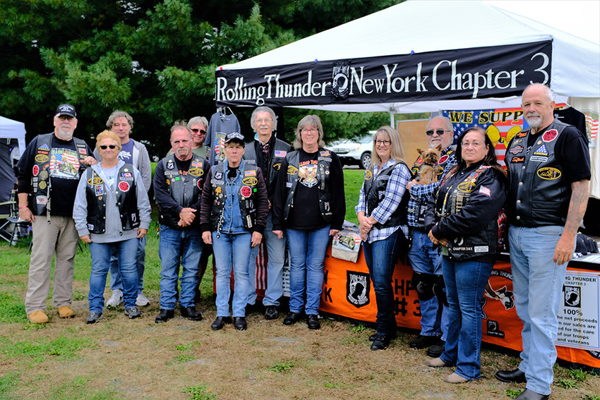 Members of the New York Chapter 3 of Rolling Thunder: (L-R) Ron Orts, Dave Cosgrove, Sue Orts, Paul Tompkins, Ron Dibble, Dee Dibble, Ron Edlin, Mary Lewis, Jennifer Conger, Art Judge, Terri Keeley and Tom Conger.