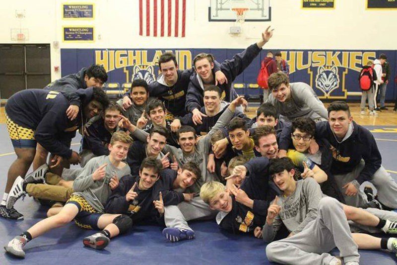 The Highland Varsity Wrestling team defeated Port Jervis 51-21 for a big win earlier this week. This win crowned the team League Champions for the first time ever! Congratulations to all the wrestlers on an awesome score and accomplishment.