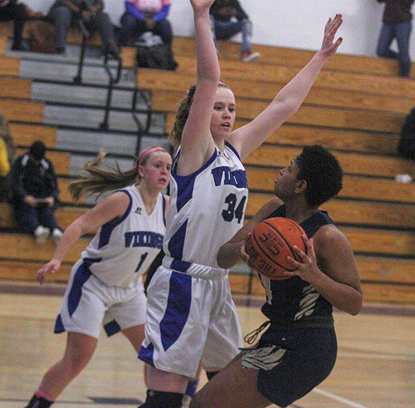 Alera Jicha gets a look for Newburgh. Jicha scored 7 points for Newburgh.