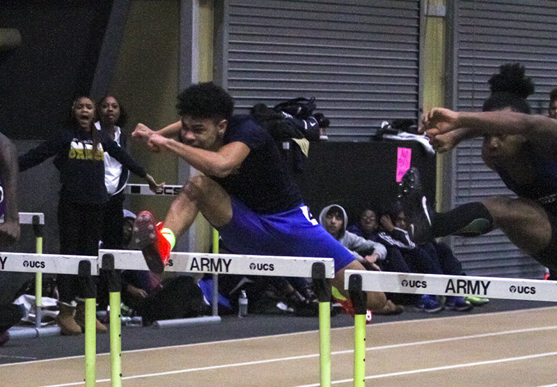 Newburgh Free Academy's Ryler Gould won the 55-meter hurdles at the state qualifier.