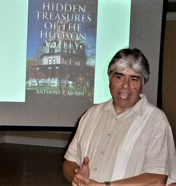 "Anthony Musso, who will speak on his book, ""Hidden Treasures of the Hudson Valley,"" Vol. 3, at the April 1 program of the Town of Lloyd Historical Preservation Society in Highland.  Musso is shown here speaking at an earlier TOLHPS program."
