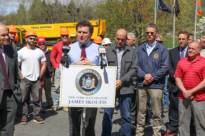 Skoufis gave his speech outside the Laborers  Local 17 Union.