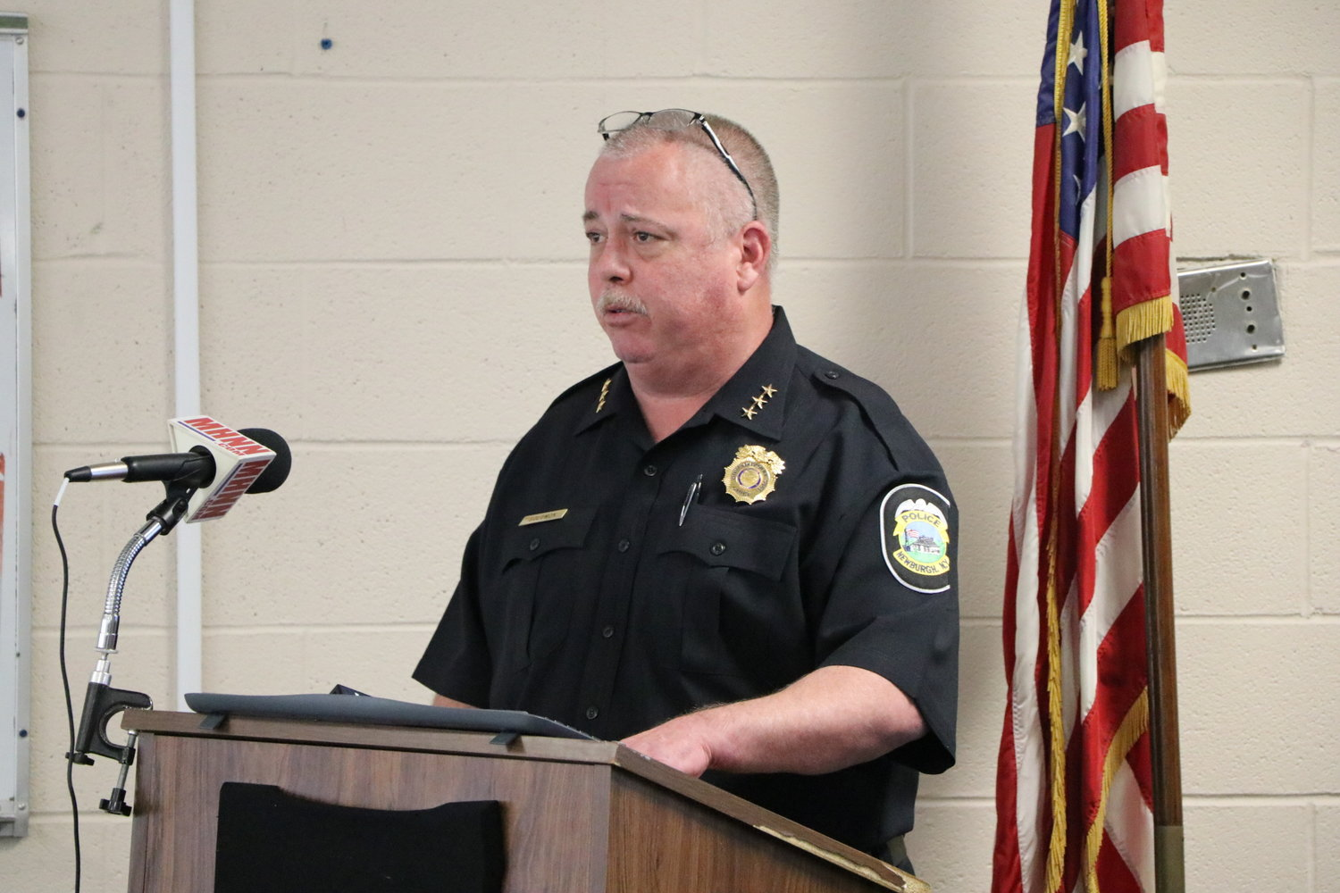 City of Newburgh Police Chief, Doug Solomon speaking at a press conference last week.