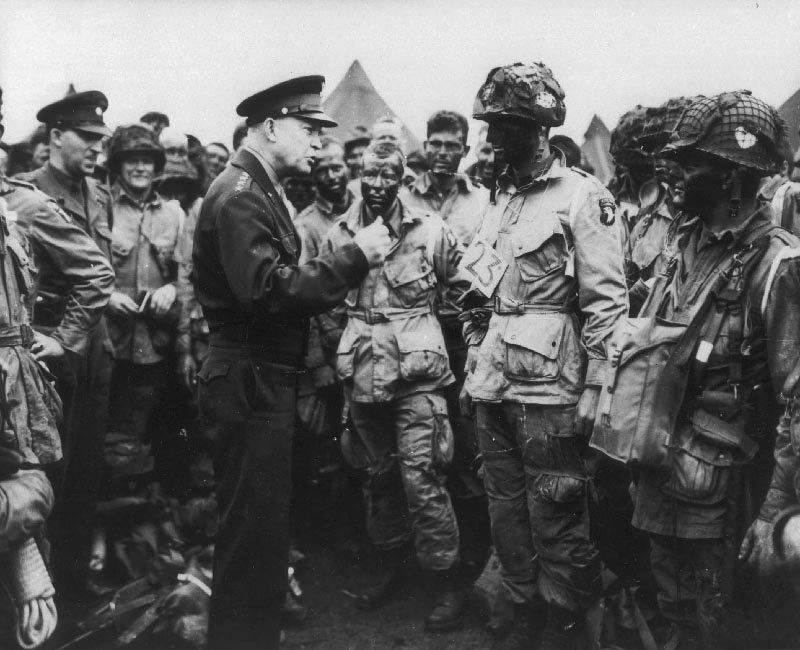 General Dwight Eisenhower meets with troops prior to the invasion of Normandy, June 6, 1944.