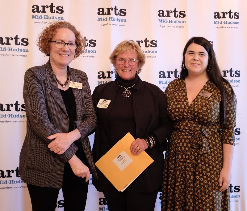 Marlborough artist Barbara Masterson has been awarded a $2,500 grant from the Arts Mid-Hudson organization. She is flanked by Liia Perez (R) Grants and Program Manager and Linda Marston-Reid, Executive Director.