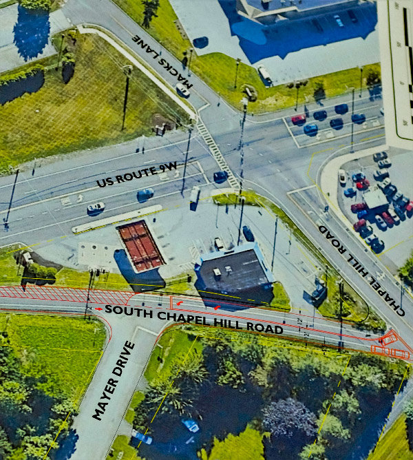 The intersections near the proposed Views project pose significant traffic issues that the Lloyd Planning Board is considering. The project site is directly to the north off of Mayer Drive.