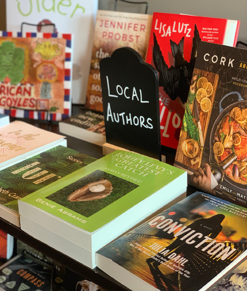 The bookstore includes a selection by local authors.