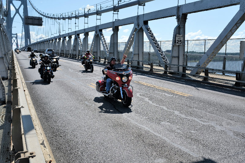 The riders came back to the western side of the Hudson River by the Mid Hudson Bridge and proceeded south to the Motorcyclepedia Museum in Newburgh.
