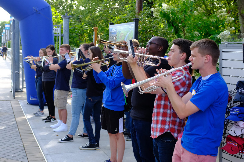The Marist College Pep Band brought a smile to the walkers, especially by playing the 'Theme from Rocky.'