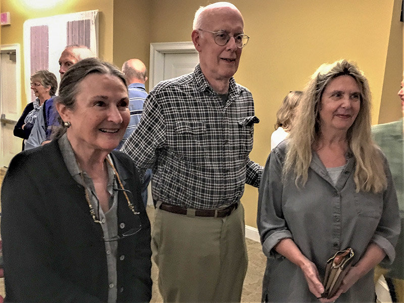 Dr. William Rhoads, professor emeritus at SUNY New Paltz, flanked by TOLHPS Vice President Vivian Wadlin and Leslie Lefevre, both of whom are part of a group that is researching Elverhoj for the Ulster County Historical Society.