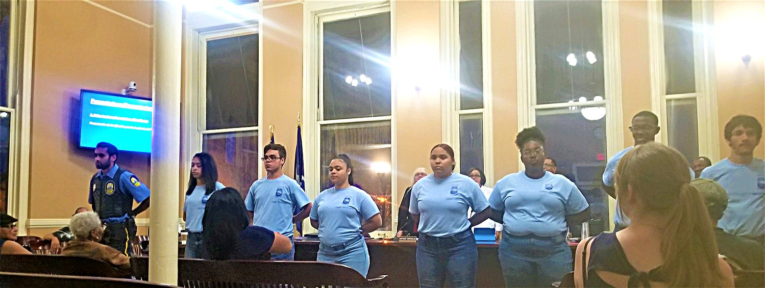Cadets facing the audience at last Monday's City Council Meeting.