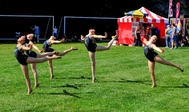 L-R Paige Elliott, Anna Lemister, Delaney Aube, Kiera Belle Bishop and Hayden Haun perform a flawless dance routine on Saturday at Tony Williams Park.