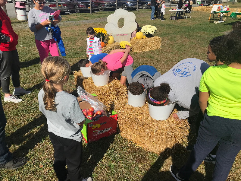Children bobbing for apples at the Town of Montgomery Community Day.