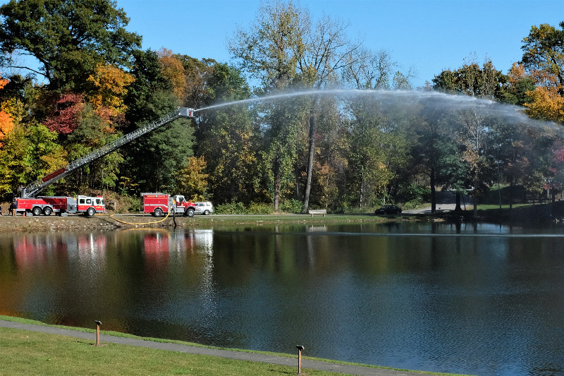 The Fire Departments put on a water display over the town pond.