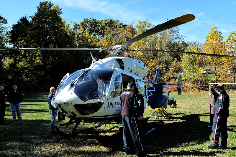 An Airbus emergency helicopter was on display on the upper field at the park.