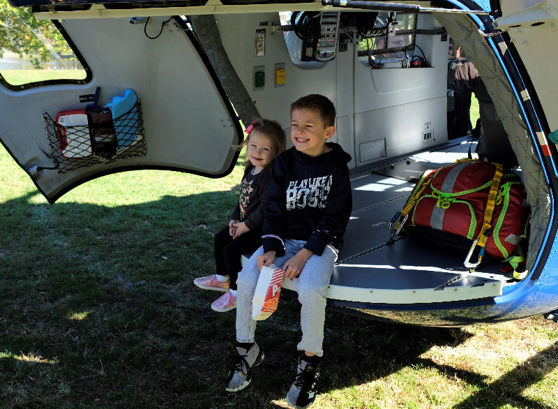 Hailey and Dominick Secreto sat in the rear of the Airbus helicopter.