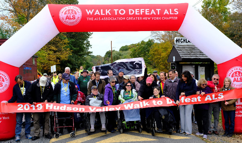 "A ribbon cutting ceremony was held near the westside entrance to the Walkway Over the Hudson to kick off the ""Walk to Defeat ALS 2019."""