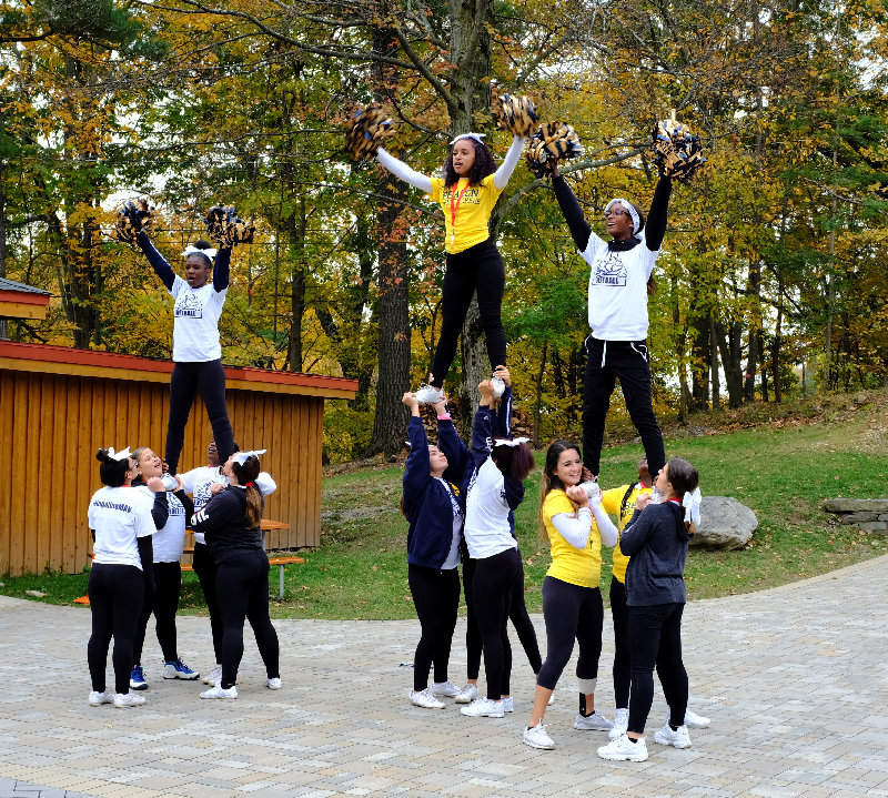 Cheerleaders from the Beacon High School Varsity Squad performed alongside the ALS Walk.