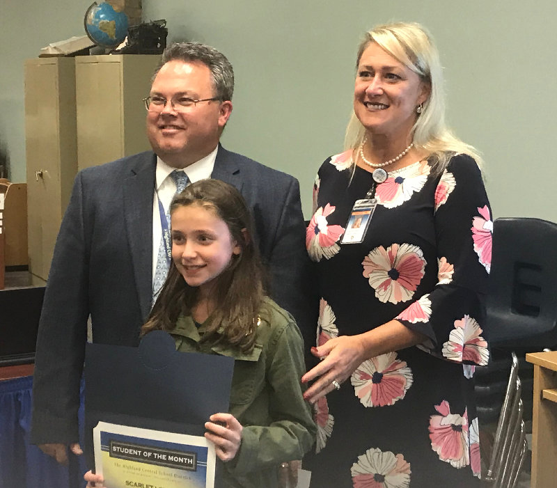 Highland Elementary School is pleased to present 5th grader Scarlett Lovell as their Student of the Month for October 2019.