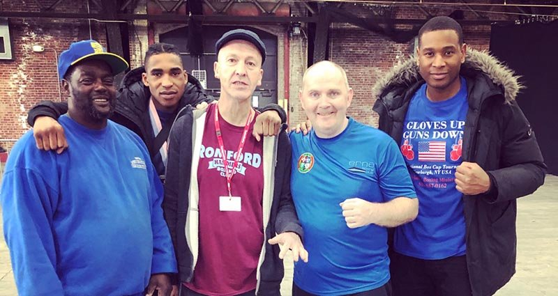 "Newburgh Hook Elite Boxing Club Head Coach Leonard Lee, ""Boxer of the Tournament"" winner Tim Olle (Team Great Britain), his Coach, Paul Cliyborn, Team Ireland Coach Sean Crowley and boxer Ayo Barek (England) after the tournament."