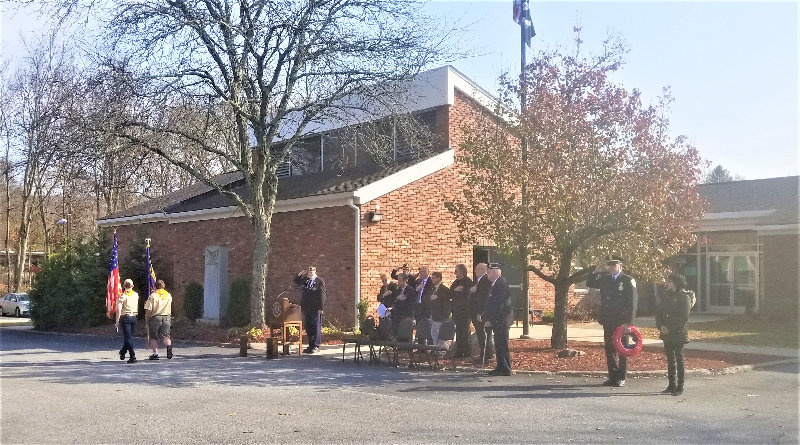 Boy Scout Troop 27 conducts the posting of the colors at Monday's Veterans Day Ceremony.