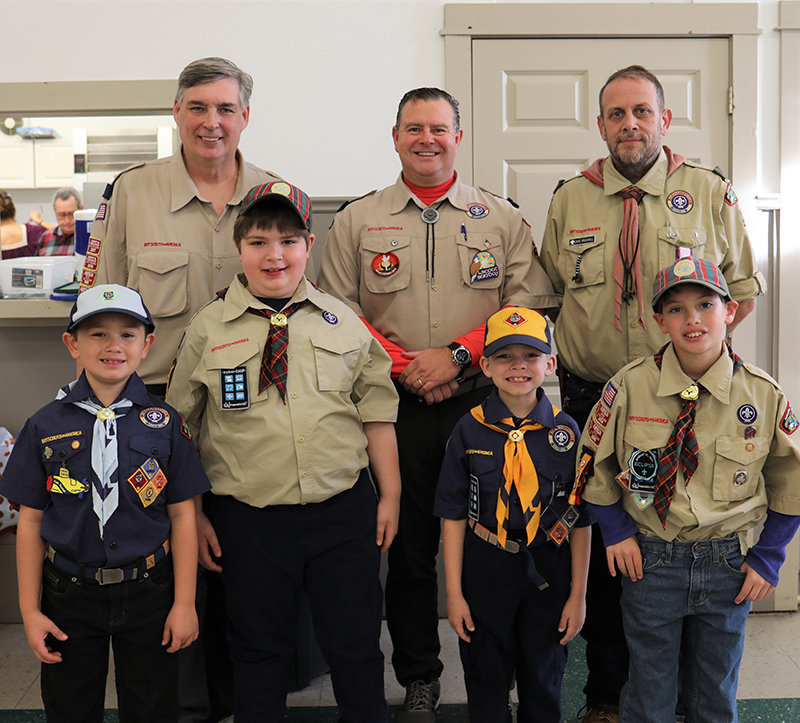 Pack 41 including Back row Cubmaster Erwin  Benz Ross Thompkins David Broadwell Front row Charlie Wegman Nick Benz Cameron Thompkins Logan Wendell.