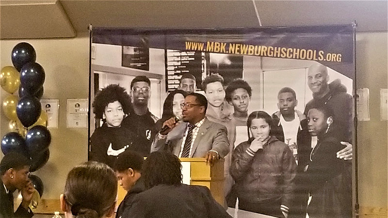 Mayor Torrance Harvey speaks during the My Brother's Keeper relaunch.