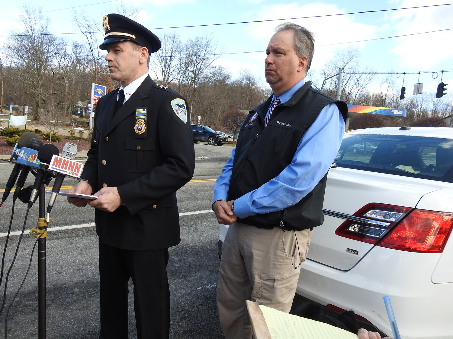 Town of Newburgh Police Chief Donald Campbell addressing the media, Sunday, near the intersection on Route 300 and 32 in the Town of Newburgh