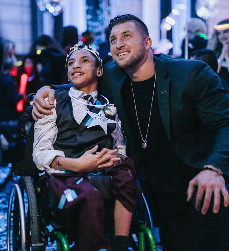 The Tim Tebow Foundation sponsors an annual prom for special needs children at locations throughout the world.