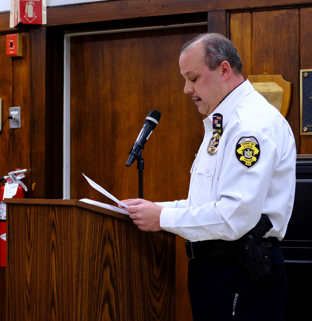 Last week Lt. James Janso delivered his first monthly report to the Lloyd Town Board as the newly appointed interim Police Chief.