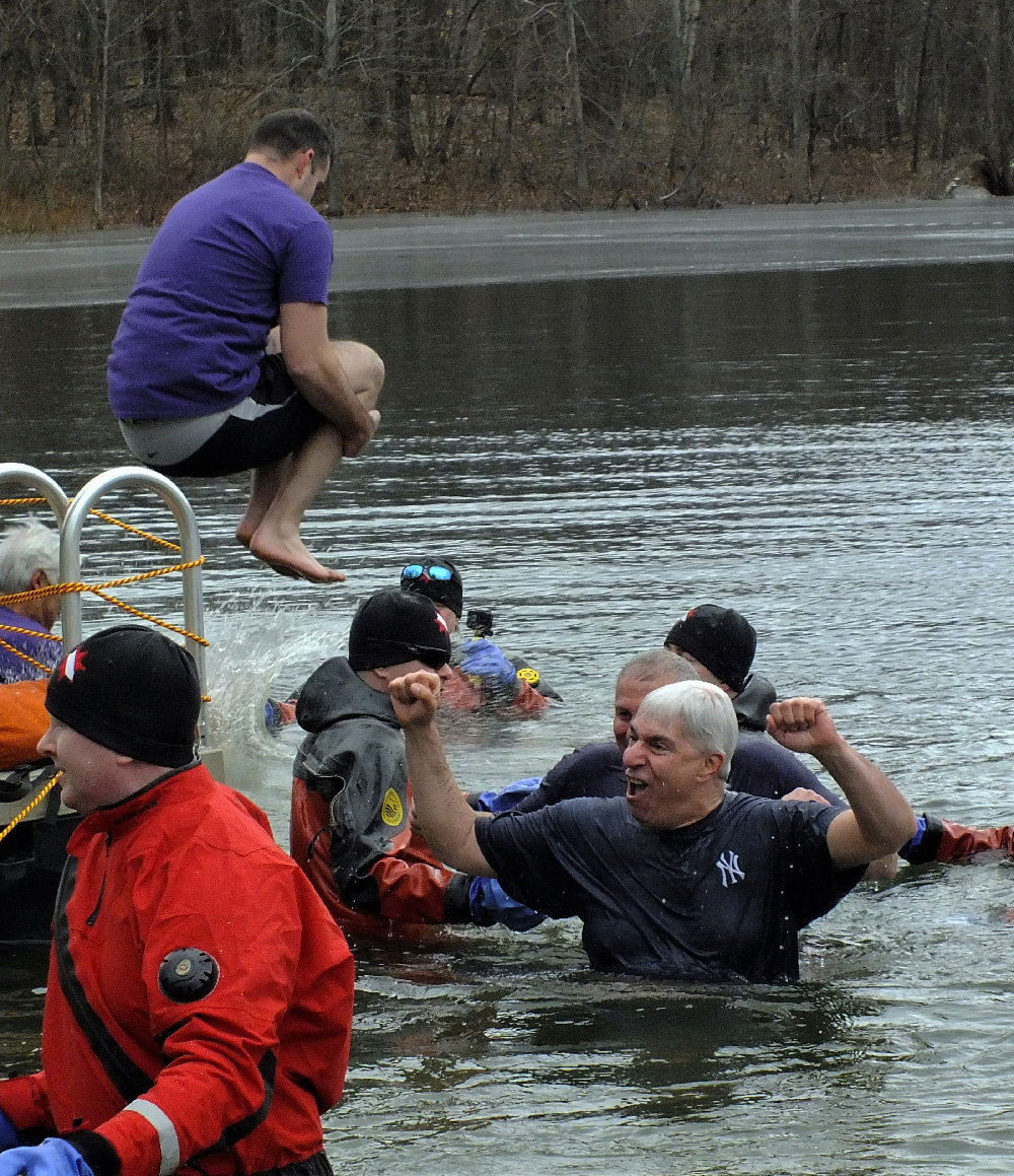 Crowds looked on as their friends and loved ones jumped into the freezing water of Berean Lake, all for a good cause.