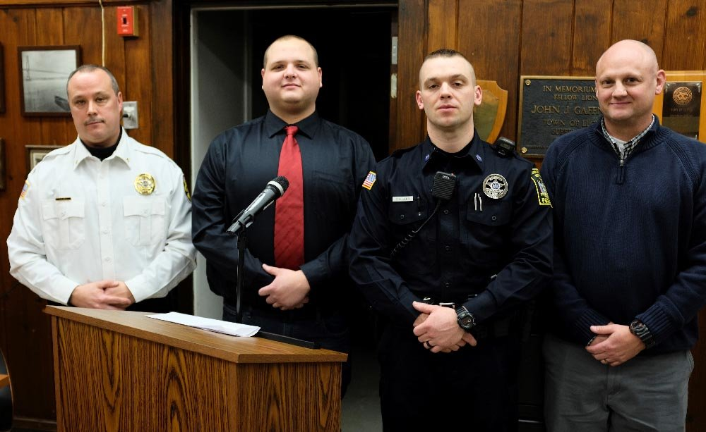 Besides appointing Janso as the new Chief (L), the board also approved Frank Piscopo as a part time dispatcher, Chris Miller was promoted to a full time Police Officer and Brian Scott as a part time Police Office.