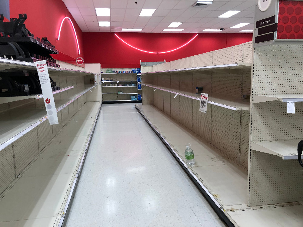 An empty toilet paper aisle at Target in Newburgh.