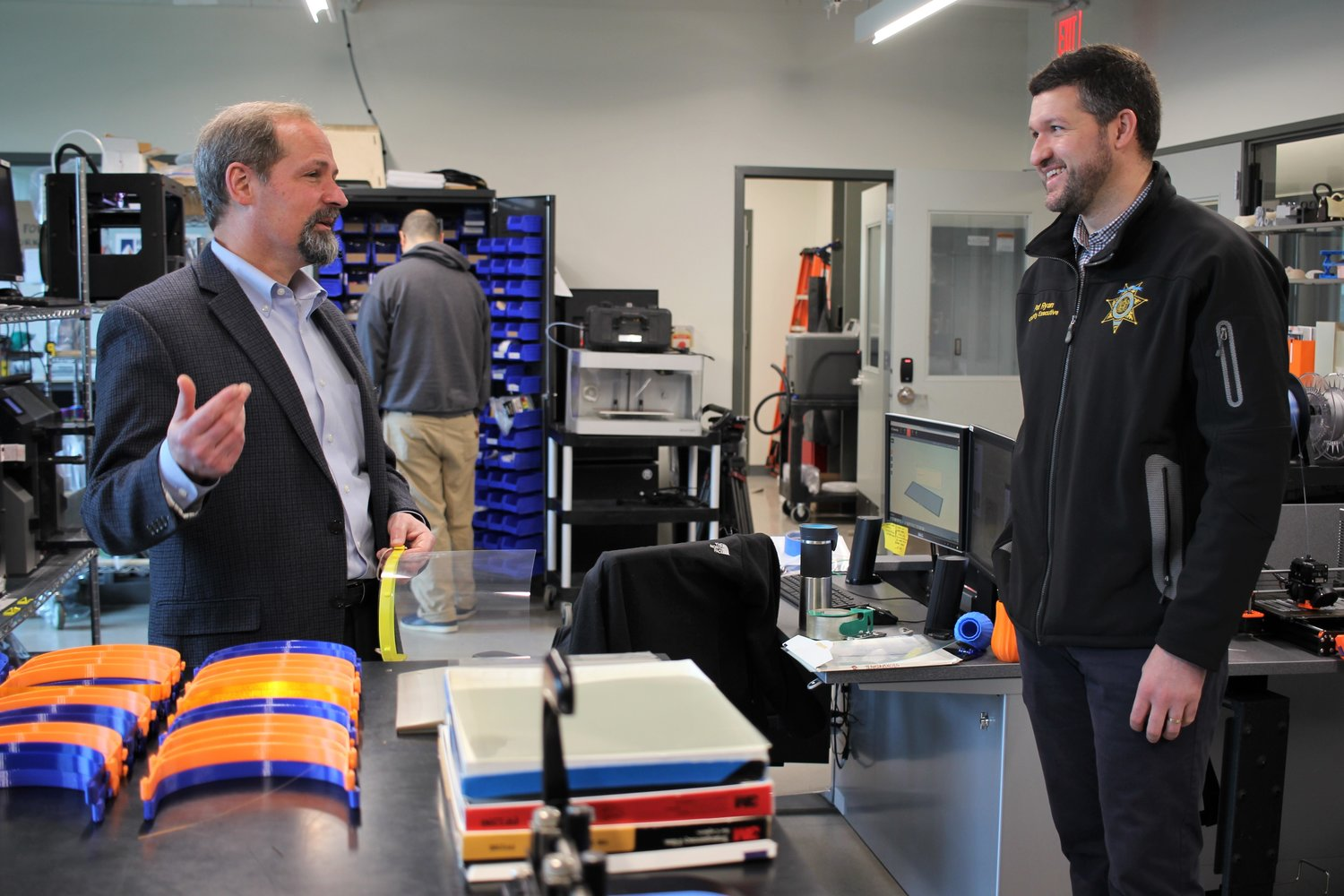 (From left to right) Director of the Hudson Valley Additive Manufacturing Center Dan Freedman and Ulster County Executive Pat Ryan.