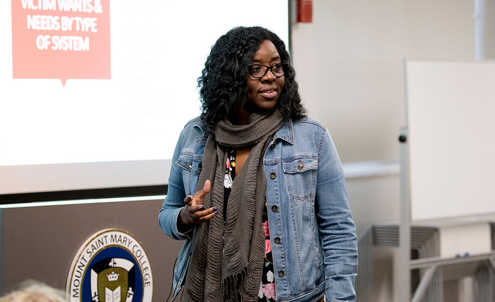 Mount Saint Mary College's Jenifer Lee-Gonyea, Division of Social Sciences, presents Using Restorative Justice to Address Serious Harms during an iROC on October 3, 2019.