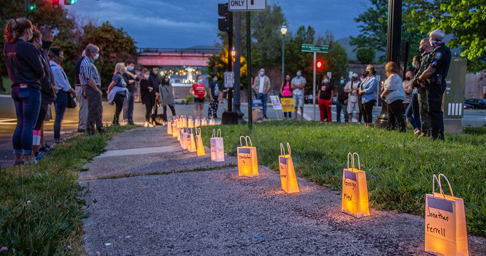 George Floyd, who died at the hands of a Minneapolis officer, was among the victims remembered in a Saturday night Vigil at the Newburgh Waterfront.