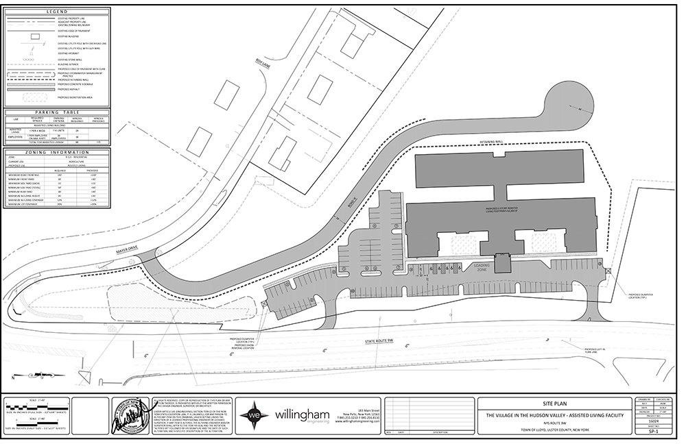 An architectural rendering of the Assisted Living Facility that is proposed for Route 9W in Highland.