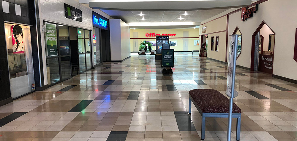 While stores like Office Depot are now open, the interior of the Newburgh Mall remains empty.