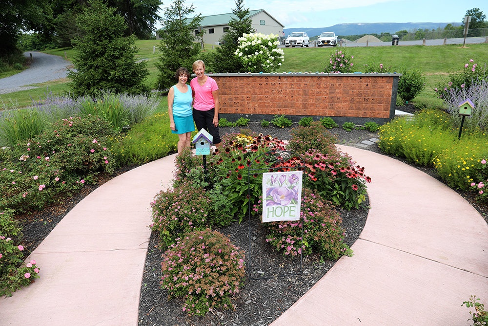 Nancy Miller, left of the Community Garden Club of Pine Bush and Donna Henke right.