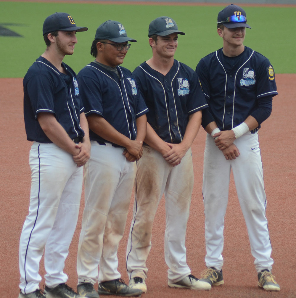 Highland Huskies' seniors Nick Barbagallo, Matt Thomas, Aidan Hoffman and Scott Marsh are honored between games at the Senior's Last Swing Baseball Tournament at Dutchess Stadium in Fishkill on Tuesday, July 28.