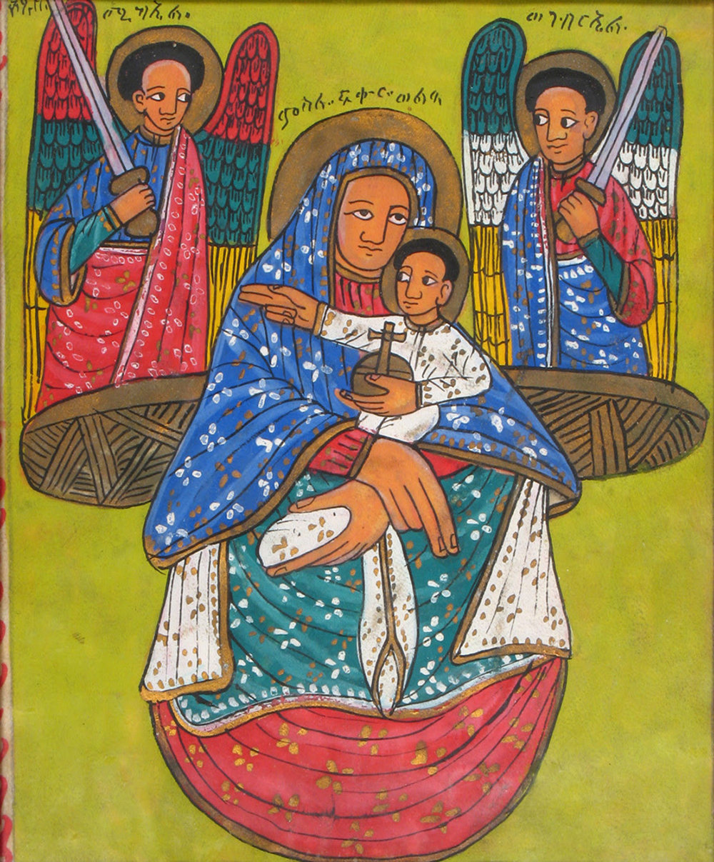 Unknown Ethiopian, Madonna and Child with Two Angels, n.d., collection the Samuel Dorsky Museum of Art, 1985.