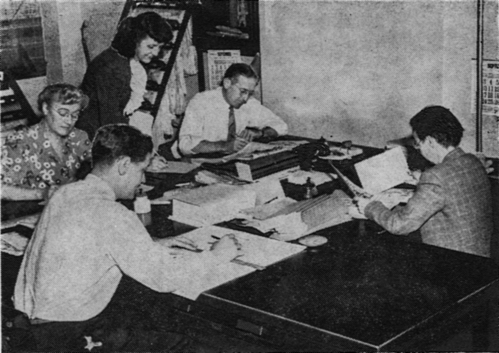 All display advertising appearing in The News is handled by this staff. Here advertising contracts are drawn for merchants of Newburgh and vicinity who desire to publicize their merchandise to readers of the paper. This staff also achieved first place in New York State and eighth in the nation for total amount of sponsored War Bond advertising solicited during the Seventh War Loan drive.