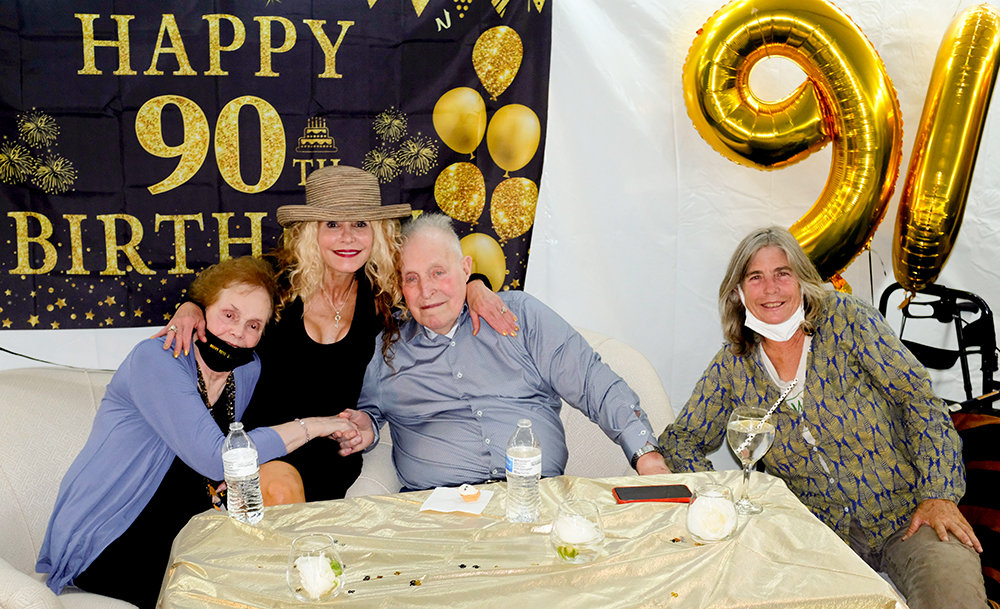 John Nicklin celebrated his 90th birthday along with his wife Carol, his daughter Allison and fellow farmer Amy Hepworth.